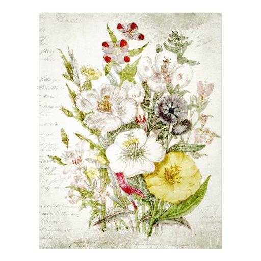Painted Vintage Flower Bouquet Script 5 Letterhead