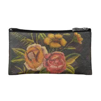 Painted Vintage Flowers Rose Makeup Bag