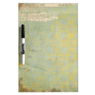painted vintage newspaper collage dry erase board