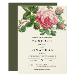 Painted Vintage Rose Boho Wedding Card