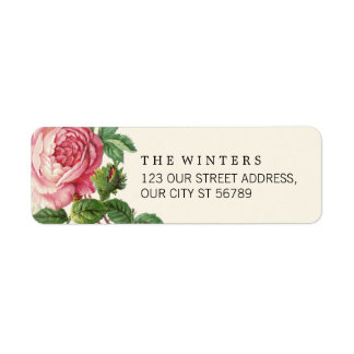 Painted Vintage Rose Boho Wedding Label