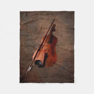 Painted Vintage Violin Fleece Blanket