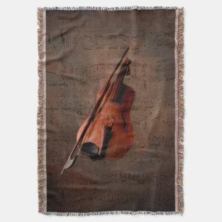 Painted Vintage Violin Throw
