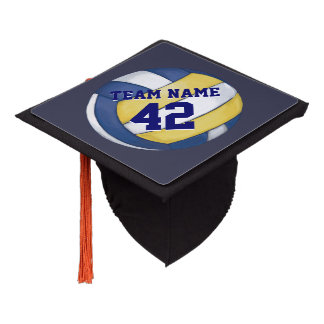Painted Volleyball with Name and Number Graduation Cap Topper