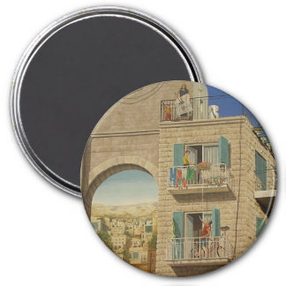 Painted wall of a house in Jerusalem 3 Inch Round Magnet
