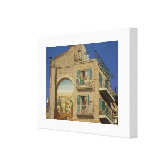 Painted wall of a house in Jerusalem Canvas Print