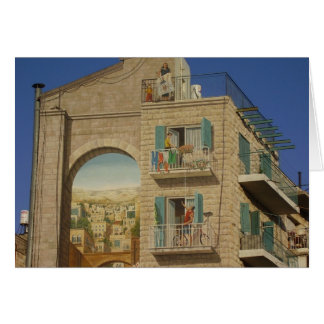 Painted wall of a house in Jerusalem Card