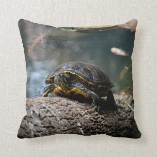 painted water turtle climbing log pillow