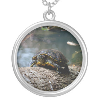 painted water turtle climbing log round pendant necklace