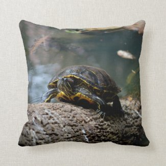 painted water turtle climbing log throw pillow