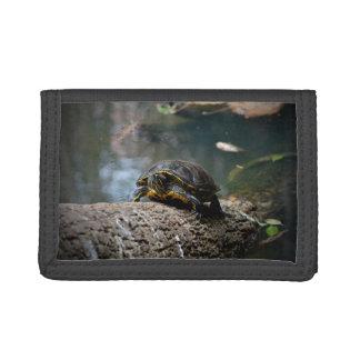 painted water turtle climbing log tri-fold wallet
