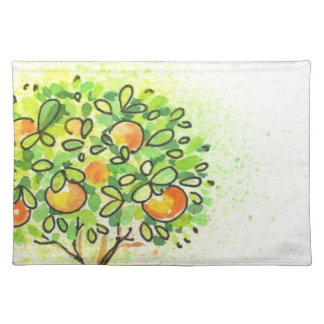 Painted watercolor citrus tree in pot cloth placemat
