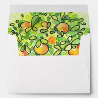 Painted watercolor citrus tree in pot envelope
