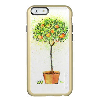 Painted watercolor citrus tree in pot incipio feather® shine iPhone 6 case