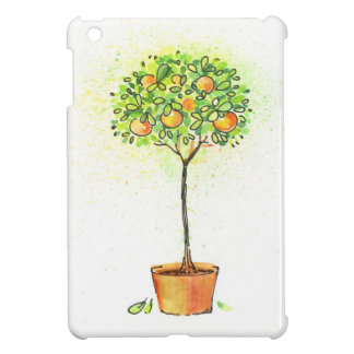 Painted watercolor citrus tree in pot iPad mini cases