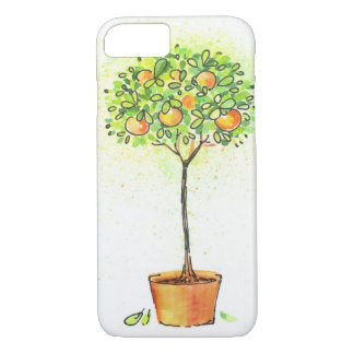 Painted watercolor citrus tree in pot iPhone 7 case