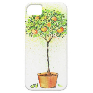 Painted watercolor citrus tree in pot iPhone SE/5/5s case
