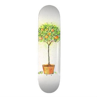 Painted watercolor citrus tree in pot skateboard deck