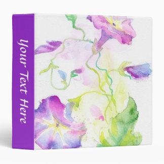 Painted watercolor convolvulus flowers 3 ring binder