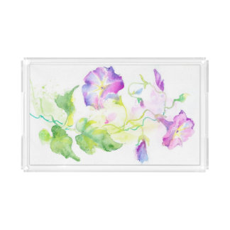 Painted watercolor convolvulus flowers rectangle serving trays