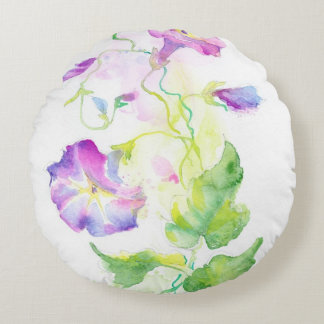 Painted watercolor convolvulus flowers round pillow