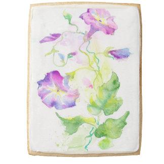 Painted watercolor convolvulus flowers shortbread cookie
