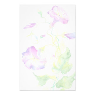 Painted watercolor convolvulus flowers stationery