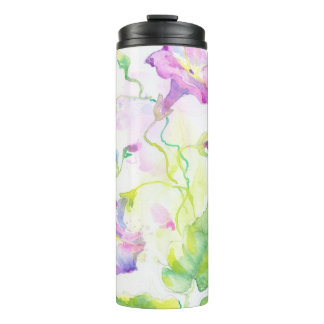 Painted watercolor convolvulus flowers thermal tumbler