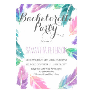 Painted watercolor feathers bachelorette party 5x7 paper invitation card