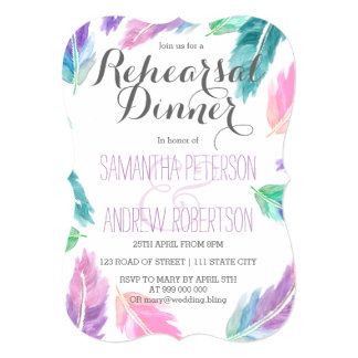 Painted watercolor feathers rehearsal dinner card