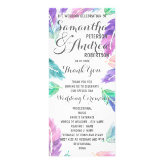 Painted watercolor feathers Wedding Program