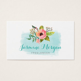 Painted Watercolor Floral Chic Teal Aqua Blue Business Card