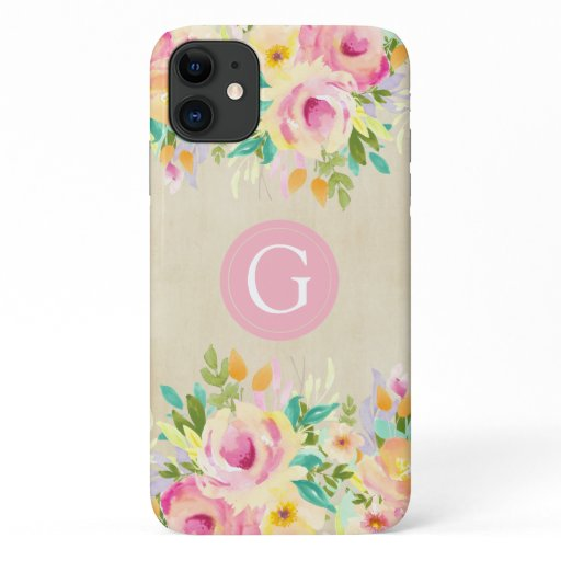 Painted Watercolor Floral Monogram iPhone 11 Case