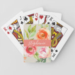 """Painted Watercolor Floral Pattern Custom Name Playing Cards<br><div class=""""desc"""">A colorful and feminine design with an area for monograms or names. If you need to adjust the artwork or change the font,  you can click on the customize area. This will take you to the design tool where you can make many changes.</div>"""