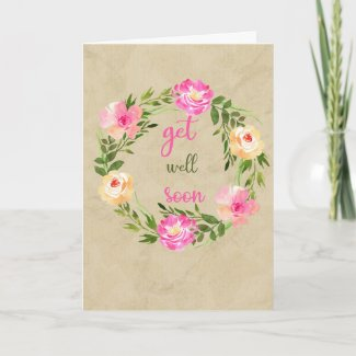 Painted Watercolor Flower Wreath Get Well Card