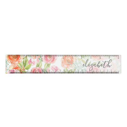 Painted Watercolor Flowers Calligraphy Name Ruler