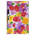 Painted Watercolor Flowers Dry-Erase Board