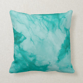Painted Watercolor in Teal Green Throw Pillow