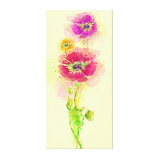 Painted watercolor poppies 2 canvas print