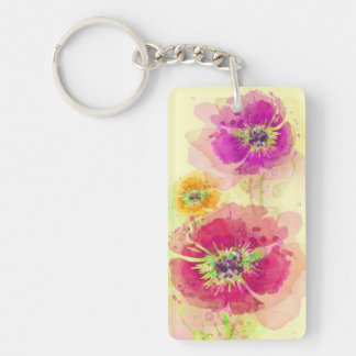 Painted watercolor poppies 2 keychain