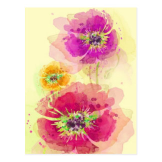 Painted watercolor poppies 2 postcard