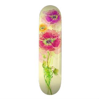 Painted watercolor poppies 2 skateboard deck