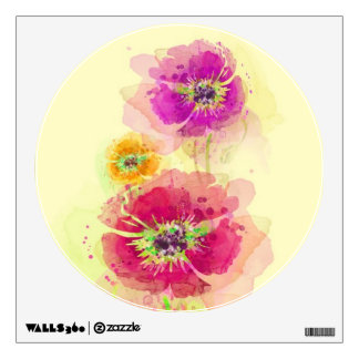 Painted watercolor poppies 2 wall decal