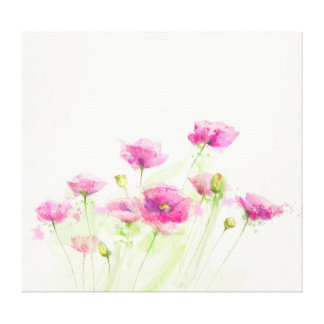 Painted watercolor poppies 3 canvas print
