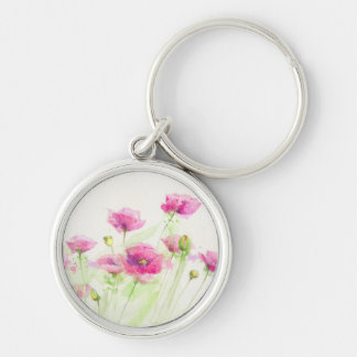 Painted watercolor poppies 3 keychain