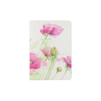 Painted watercolor poppies 3 passport holder