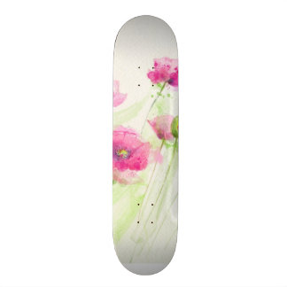 Painted watercolor poppies 3 skateboard