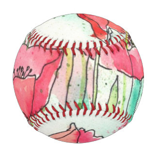 Painted watercolor poppies baseball
