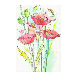 Painted watercolor poppies canvas print