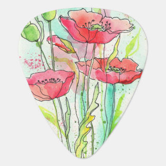 Painted watercolor poppies guitar pick